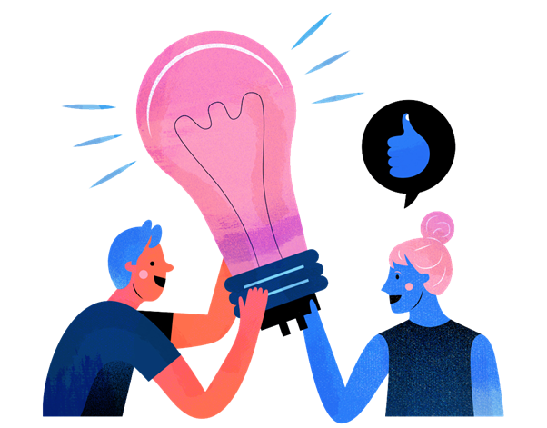 Two people holding a lightbulb with a thumbs up